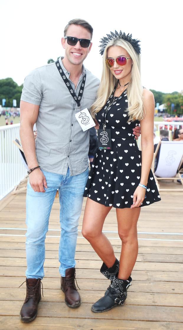 Rosanna Davison and Wesley at the 3Live experience at Electric Picnic. Photo: Leon Farrell/ Photocall Ireland
