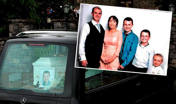 Hawe family (inset) and Liam's coffin at the funeral of the family of five