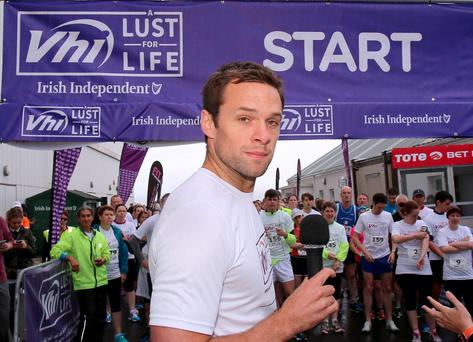 Niall Breslin kick starts the Lust for Life 5K race at the Galway Racecourse. Picture: Hany Marzouk