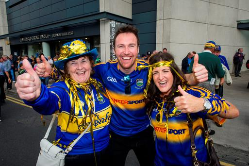 Tipperary fans Kathleen and Brian Moroney with Sara Power outside Croke Park after the match. Photo: Doug O'Connor