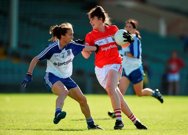 Cork's Ciara O'Sullivan in action against Monaghan's Sharon Courtney . Photo by Diarmuid Greene/Sportsfile