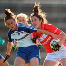 Cork's Ciara O'Sullivan is challenged by Monaghan's Sharon Courtney during Saturday's Ladies All-Ireland semi-final. Photo by Diarmuid Greene/Sportsfile