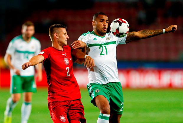 Northern Ireland's Josh Magennis (right) and Czech Republic's Pavel Kaderabek battle for the ball during. Photo: PA