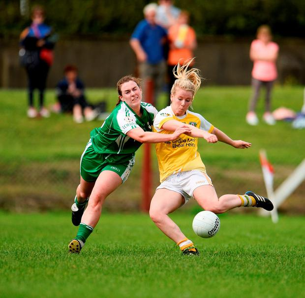 Antrim's Mairéad Cooper scores her side's sixth goal against London. Photo by Sam Barnes/Sportsfile