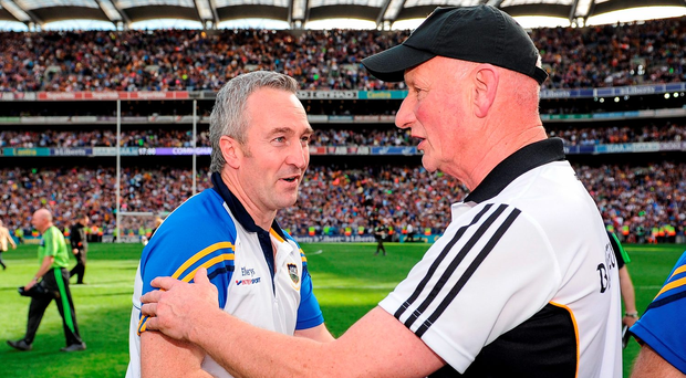 Tipperary manager Michael Ryan, left, is congratulated by Kilkenny manager Brian Cody Photo by Seb Daly/Sportsfile