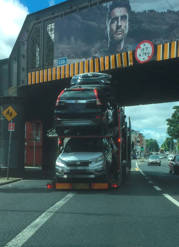 A truck stuck under a railway bridge in Dublin city. There have been 68 bridge strikes so far this year