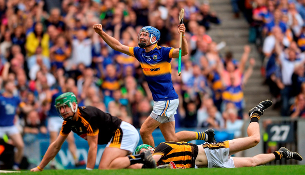 John McGrath celebrates after scoring Tipperary's second goal against Kilkenny in Croke Park yesterday Photo by Eóin Noonan/Sportsfile