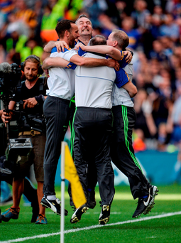Michael Ryan and his staff celebrate Tipperary's victory Photo by Seb Daly/Sportsfile