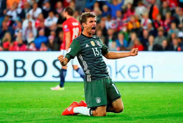 Thomas Mueller of Germany celebrates scoring his second goal against Norway. Photo: Getty