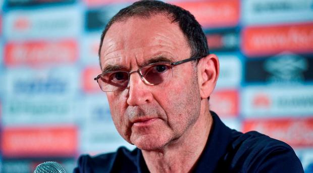 Republic of Ireland manager Martin O'Neill speaking during a press conference at the Stadion FK Crvena Zvezda, Belgrade, Serbia. Photo by David Maher/Sportsfile