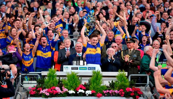 Tipperary captain Brendan Maher lifts the Liam MacCarthy Cup after the GAA Hurling All-Ireland Senior Championship Final match between Kilkenny and Tipperary at Croke Park in Dublin. Photo by Brendan Moran/Sportsfile