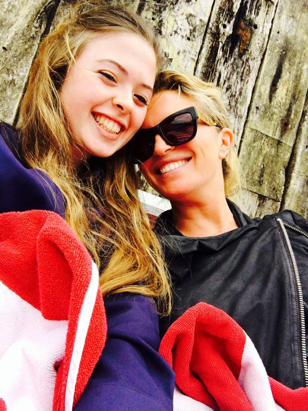 Tina Hobley and daughter Anastasia. Photo: Twitter