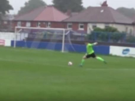 Dan Lowson of Spennymoor Town scored an 80-yard free-kick against Radcliffe Borough. YouTube
