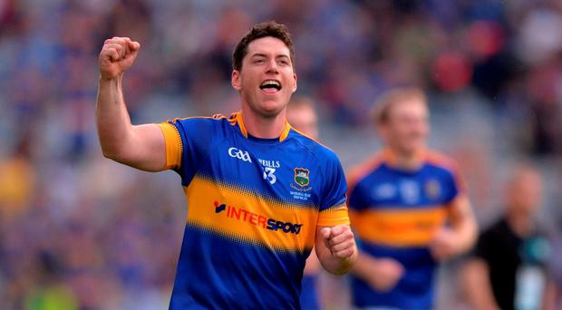 John ODwyer of Tipperary celebrates after the GAA Hurling All-Ireland Senior Championship Final match between Kilkenny and Tipperary at Croke Park in Dublin. Photo by Piaras Ó Mídheach/Sportsfile