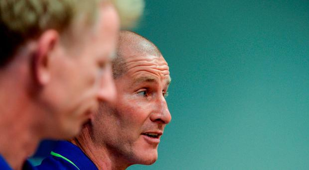 Stuart Lancaster, right, of Leinster during a press conference at UCD in Belfield, Dublin. Photo by Seb Daly/Sportsfile