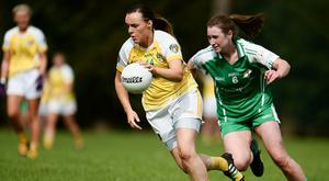 4 September 2016; Eimear Gallgher of Antrim in action against Sarah Quinn of London during the TG4 All Ireland Junior Football Championship Semi Final between Antrim and London in Fingallians, Dublin. Photo by Sam Barnes/Sportsfile