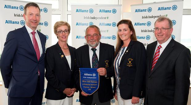 WINNERS: Portumna president Mary Conwell, captain Mick Keyes and lady captain Mary McElroy Anthony Shannon of Allianz and Liam Kelly. Photo: Andrew Downes/Xposure