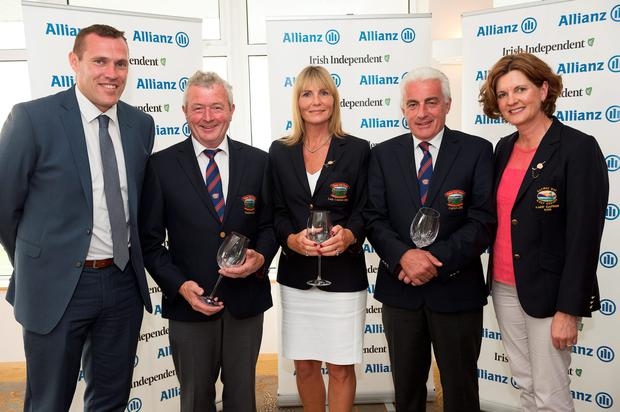 RUNNERS-UP: Bearna president Tim Tarpey, lady captain Clare Cunningham and captain Kieran Bowden with Ciaran Whelan of Allianz and Galway Bay lady captain Jacinta Quinn. Photo: Andrew Downes/Xposure