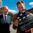 Tourism Minister Shane Ross with actor Richard E Grant in Trinity College. Photo: Shane O'Neill