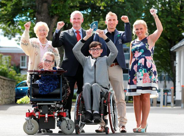 Pictured at the Hidden Hearing/ Irish Independent Hidden Heroes Awards ceremony at the Doubletree Hilton in Dublin, were, { L to R Back row] Heather McGrath, Special Recognition in Age is No Barrier Award, Stephen Leddy, MD Hidden Hearing, Marcin Mizgajski, Sporting Hero Award and Karen O Mahony, Corporate Social Responsibilty Hero Award, and front row, Joanne O Riordan, Hero Ambassador, and Sean McCullagh, Young Hero Award. Picture Credit: Frank McGrath
