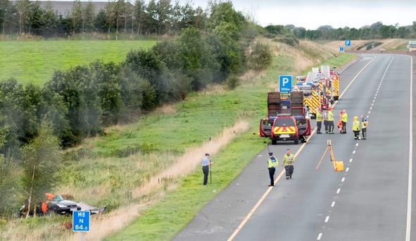 The scene of the road collision on the M8, near Cashel, Co Tipperary, yesterday, in which one woman was killed and two were seriously injured. Photo: Dylan Vaughan