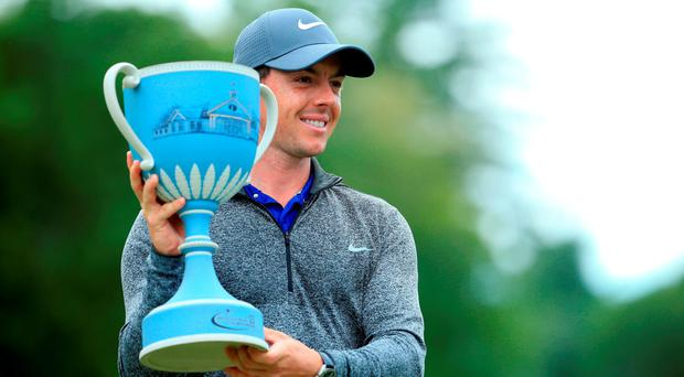 Rory McIlroy with the trophy after winning the Deutsche Bank Championship at TPC Boston. Photo: Maddie Meyer/Getty Images