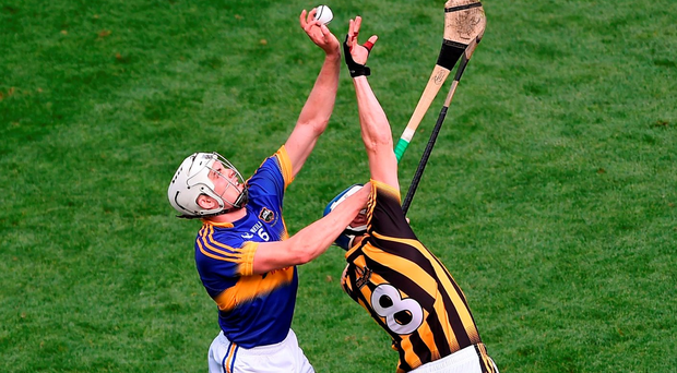 Tipperary's Ronan Maher in action against Kilkenny's TJ Reid. Photo: Daire Brennan/Sportsfile