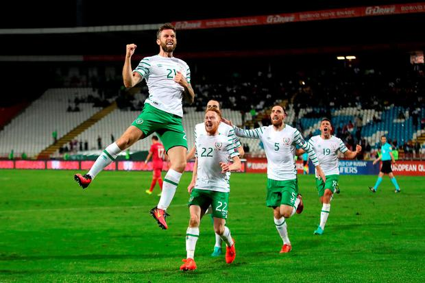 Daryl Murphy celebrates after heading home his first international goal to rescue a draw for Ireland in Belgrade last night. Photo credit: Nick Potts/PA Wire.