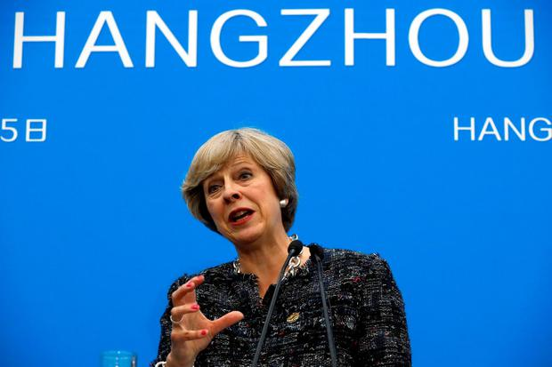 British Prime Minister Theresa May speaks at a press conference held at the end of the G-20 summit in Hangzhou in eastern China. (AP Photo/Ng Han Guan)