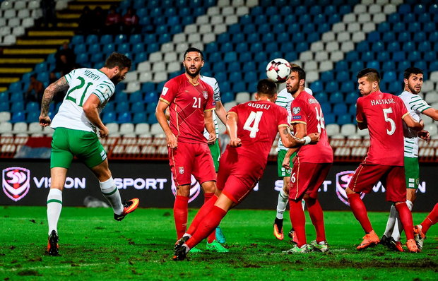 Ireland's Daryl Murphy heads home the equaliser against Serbia last night. Photo by David Maher/Sportsfile