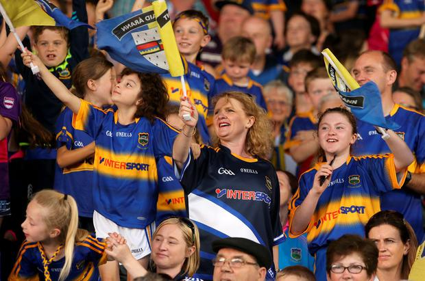 Tipperary fans cheer on their heroes. Picture credit; Damien Eagers