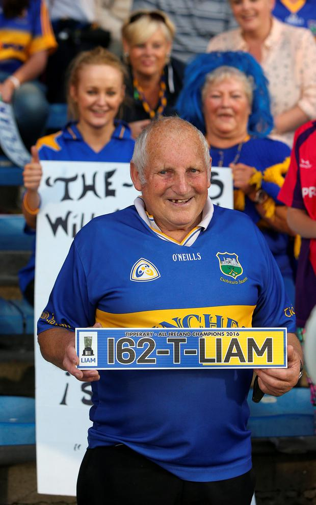 A Tipperary supporter at the homecoming for the Tipperary senior and minor All Ireland winning teams at Semple Stadium. Picture credit; Damien Eagers