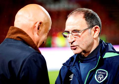 Serbia manager Slavoljub Muslin (L) shake hands with Martin O'Neill (R) during the FIFA 2018 World Cup Qualifier between Serbia and Ireland at stadium Rajko Mitic in Belgrade. (Photo by Srdjan Stevanovic/Getty Images)
