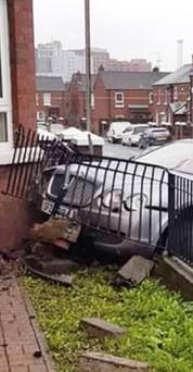 The stolen Bentley that crashed into a house in west Belfast