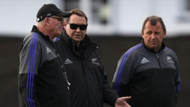 Steve Hansen (C) was forced to defend the All Blacks' handling of the incident in Sydney. (Phil Walter/Getty Images)