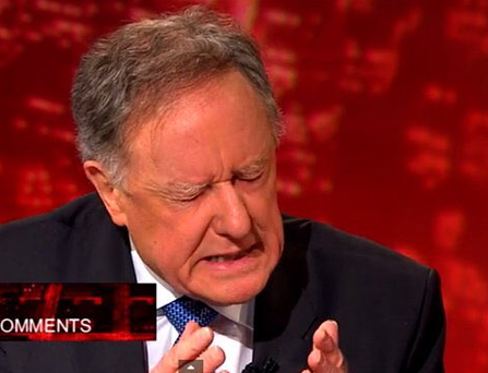 Vincent Browne returned to his show last night. Photo: @TV3/Twitter