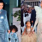Kim Kardashian and North West in New York City, left, and Beyonce with Blue Ivy at the VMAs, right