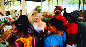 Clodagh McKenna at the farmers market in Port au Prince today