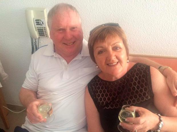 Brian Kelly and wife Vera celebrating Brian's 70th birthday in Mallorca