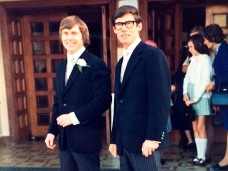Brian Kelly, left, and Ed Costello, right, at Brian's wedding in 1973
