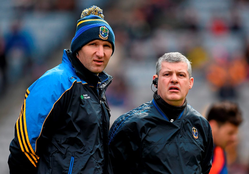 Roscommon joint managers Fergal O'Donnell and Kevin McStay. Photo: Brendan Moran / Sportsfile