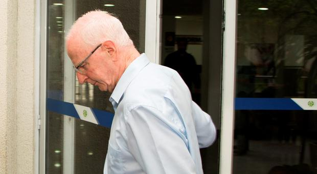 Pat Hickey leaving the police station today