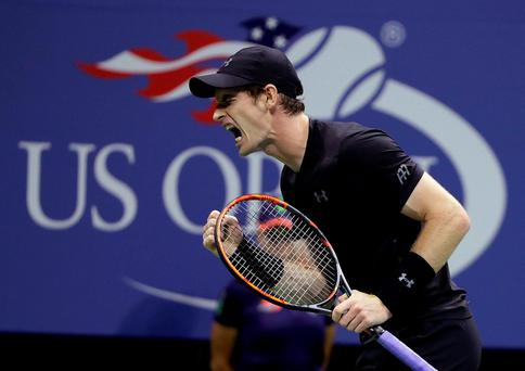 Andy Murray clenches his fist after winning a point on his way to beating Grigor Dimitrov at Flushing Meadowsk. Photo: Darron Cummings / AP Photo