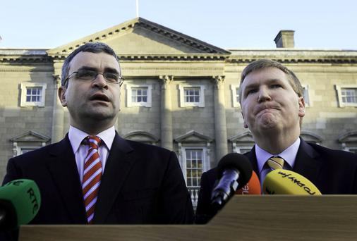 Fianna Fáil's Dara Calleary and Michael McGrath. Collins