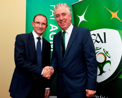 Martin O'Neill and John Delaney at the FAI Media Awards in Clonmel in July. Photo: Sportsfile