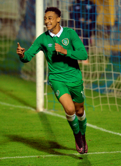 Local lad Adam Idah from College Corinthians scored twice as Ireland beat Turkey in last night's U-17 friendly international at a humid and misty Turner's Cross. Photo: Sportsfile