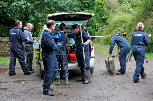 Gardaí search undergrowth in Rahin Woods, Co Kildare, after the discovery of Philip Finnegan's body. Photo: Colin Keegan/Collins