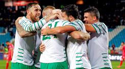 Ireland's Daryl Murphy (C) is congratulated by teammates. Photo: Getty Images