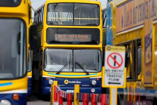 Dublin Bus services are to stop at 9pm tonight to allow the buses to be brought back to depots ahead of the strike action tomorrow and Friday. Picture Colin Keegan, Collins Dublin.