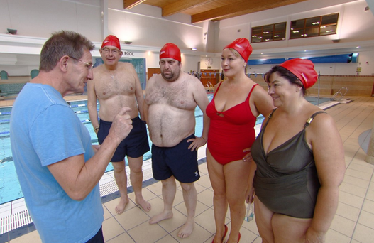 Comedian Katherine Lynch makes a splash in the first episode of Celebrity Operation Transformation by wearing red high-heels. Photo: RTE